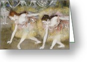 Edgar Greeting Cards - Dancers Bending Down Greeting Card by Edgar Degas