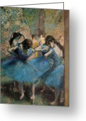 Dancing Greeting Cards - Dancers in blue Greeting Card by Edgar Degas
