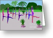 Happy Texas Artist Greeting Cards - Dancers in Park Greeting Card by Fred Jinkins