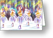 Gymnastics Drawings Greeting Cards - Dancers in the Forest II Greeting Card by Kip DeVore