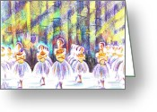 Scene Mixed Media Greeting Cards - Dancers in the Forest Greeting Card by Kip DeVore