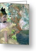 Stage Pastels Greeting Cards - Dancers in the Wings  Greeting Card by Edgar Degas