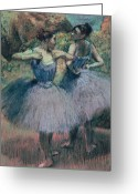 Tutus Pastels Greeting Cards - Dancers in Violet  Greeting Card by Edgar Degas