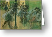 Rehearsal Greeting Cards - Dancers rehearsing Greeting Card by Edgar Degas