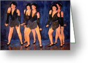Gouache Mixed Media Greeting Cards - Dancers  Spring Glitz     Greeting Card by Kathy Braud