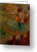 Stage Pastels Greeting Cards - Dancers Wearing Green Skirts Greeting Card by Edgar Degas