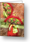 Red Woman Greeting Cards - Dancing - The Fan Dance Greeting Card by Mike Savad