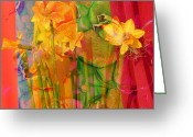 Jerry Cordeiro Greeting Cards Posters Greeting Cards - Dancing Daffodils Greeting Card by Jerry Cordeiro
