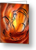 Irina Greeting Cards - Dancing Fire I Greeting Card by Irina Sztukowski