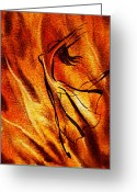 Fire Dance Painting Greeting Cards - Dancing Fire VI Greeting Card by Irina Sztukowski