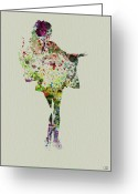 Romantic Greeting Cards - Dancing Geisha Greeting Card by Irina  March
