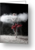 Red Dress Greeting Cards - Dancing in Flour Series Greeting Card by Cindy Singleton