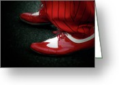 Red Shoes Greeting Cards - Dancing in Retro  Greeting Card by Steven  Digman