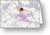 Ballet Dancer Greeting Cards - Dancing in the Clouds Greeting Card by Stefan Kuhn