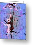 Umbrella Digital Art Greeting Cards - Dancing in the Rain Greeting Card by Tony Marquez