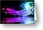 Glowing Greeting Cards - Dancing Lights Greeting Card by Setsiri Silapasuwanchai