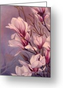 Pink Flower Branch Painting Greeting Cards - Dancing Magnolias  Greeting Card by Daniela Easter