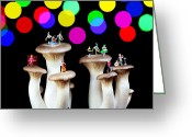 Unique Art. Greeting Cards - Dancing on mushroom under starry night Greeting Card by Mingqi Ge