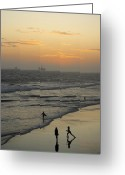 After Sunset Greeting Cards - Dancing on the Sand Greeting Card by Viktor Savchenko