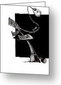 Pole Drawings Greeting Cards - Dancing pole Greeting Card by Ronald Williams