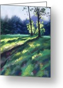 Forest Pastels Greeting Cards - Dancing Shadows Greeting Card by Christine Kane