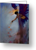 Red Woman Greeting Cards - Dancing the Lifes Web Star Gifter Does Greeting Card by Stephen Lucas