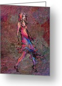 Divine Greeting Cards - Dancing the Nights Greeting Card by Rachel Christine Nowicki