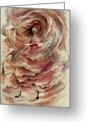 Mystical Drawings Greeting Cards - Dancing the Storms Greeting Card by Rachel Christine Nowicki