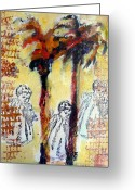 Small Works On Paper Greeting Cards - Dancing  Through the Palm Trees Greeting Card by Juliet Mevi-Shiflett