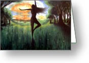 Nature Fusion Greeting Cards - Dancing to a Nuclear Sunrise Greeting Card by Levi Rosen