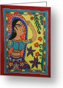 Floral Blouse Greeting Cards - Dancing Woman Greeting Card by Shakhenabat Kasana