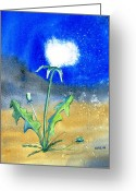 Carlin Greeting Cards - Dandelion Moonlight Greeting Card by Carlin Blahnik