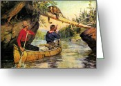 Camping Greeting Cards - Dangerous Encounter Greeting Card by JQ Licensing