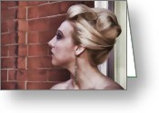 Updo Greeting Cards - Dangling Earring Greeting Card by Alice Gipson
