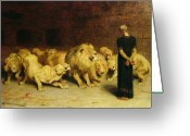 In Love Greeting Cards - Daniel in the Lions Den Greeting Card by Briton Riviere