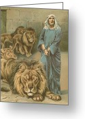 Lions Painting Greeting Cards - Daniel in the lions den Greeting Card by John Lawson