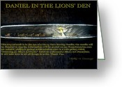 Daniel Sculpture Greeting Cards - Daniel In The Lions Den  Greeting Card by Phillip H George