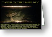 Daniel Sculpture Greeting Cards - Daniel In The Loins Den Info Photo No.2  Greeting Card by Phillip H George
