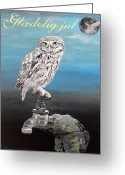 Lesvos Greeting Cards - Danish Christmas Little Owl Greeting Card by Eric Kempson