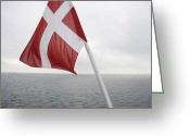 Flag Day Greeting Cards - Danish Flag, Dannebrog Greeting Card by Keenpress