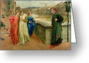 River Banks Greeting Cards - Dante and Beatrice Greeting Card by Henry Holiday
