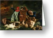 Styx Greeting Cards - Dante and Virgil in the Underworld Greeting Card by Ferdinand Victor Eugene Delacroix