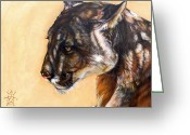 Puma Greeting Cards - Dappled Greeting Card by J W Baker