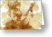 Women Greeting Cards - Darjeeling Greeting Card by Brian Kesinger