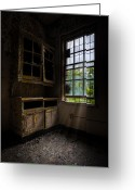 Ghostly Greeting Cards - Dark And Empty Cabinets Greeting Card by Gary Heller