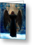 Surreal Fantasy Gothic Church Greeting Cards - Dark Angel at Church Doors Greeting Card by Jill Battaglia