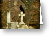 Otherworldly Greeting Cards - Dark Autumn Greeting Card by Gothicolors With Crows