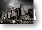 Spooky Moon Greeting Cards - Dark Castle Greeting Card by Carlos Caetano