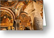 Byzantine Greeting Cards - Dark Cave Church Byzantine Frescoes Greeting Card by Denise Lett