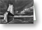 Dark Cloud Greeting Cards - Dark Clouds Black and White Greeting Card by Sebastian Musial